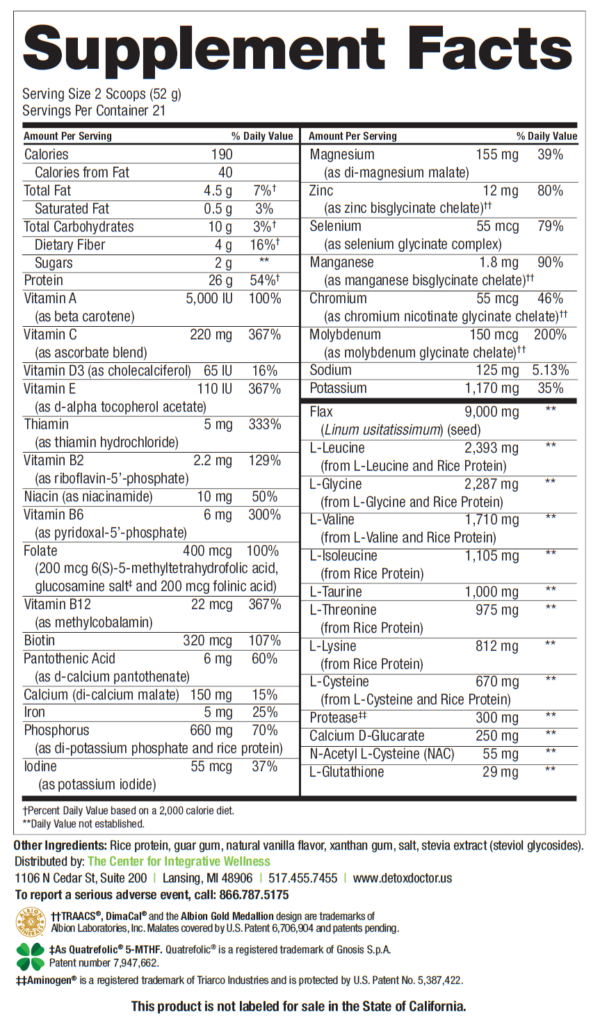 HepataClear Nutrition Facts Label